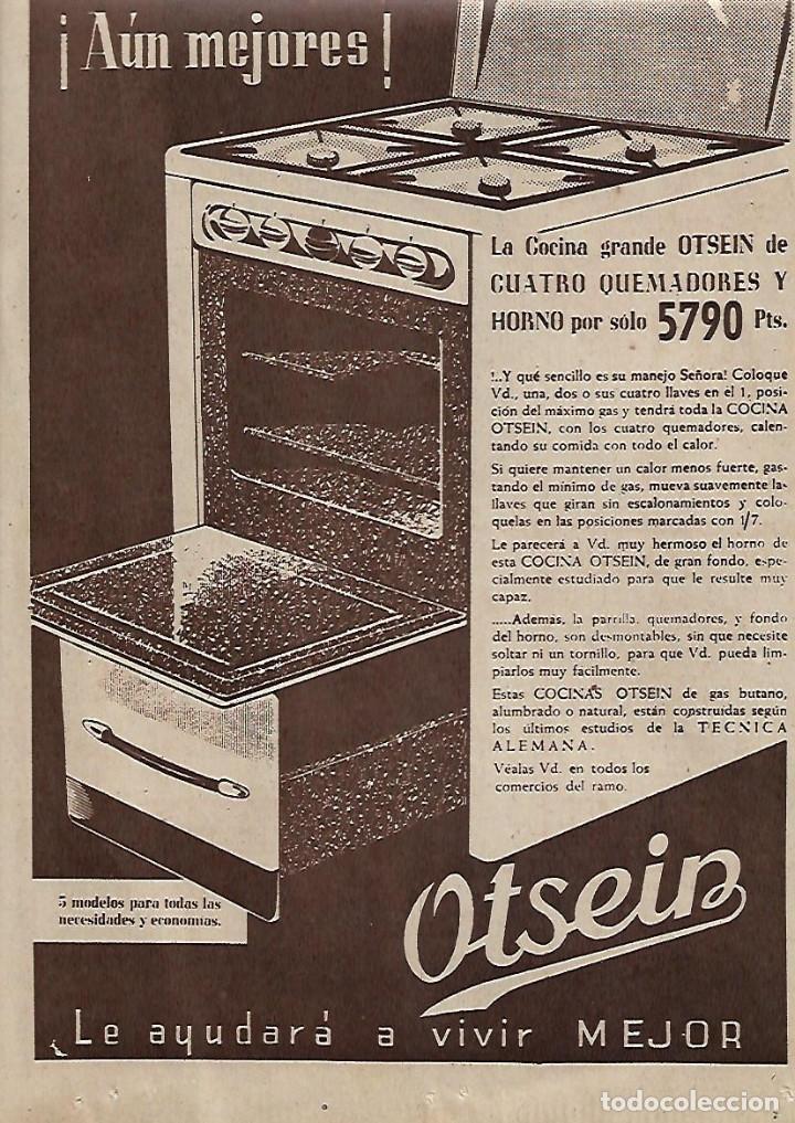 AÑO 1959 RECORTE PRENSA PUBLICIDAD ELECTRODOMESTICOS OTSEIN COCINA HORNO (Coleccionismo - Laminas, Programas y Otros Documentos)