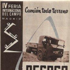 Coleccionismo: AÑO 1959 RECORTE PRENSA PUBLICIDAD PEGASO CAMION TODO TERRENO TRANSPORTE. Lote 127954211