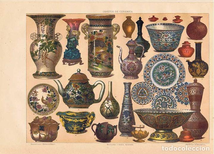 LÁMINA OBJETOS DE CERÁMICA. DICCIONARIO ENCICLOPÉDICO HISPANO-AMERICANO 1888 (Coleccionismo - Laminas, Programas y Otros Documentos)