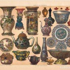 Coleccionismo: LÁMINA OBJETOS DE CERÁMICA. DICCIONARIO ENCICLOPÉDICO HISPANO-AMERICANO 1888. Lote 128005959