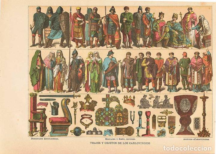 LÁMINA TRAJES Y OBJETOS DE LOS CARLOVINGIOS. DICCIONARIO ENCICLOPÉDICO HISPANO-AMERICANO 1888 (Coleccionismo - Laminas, Programas y Otros Documentos)