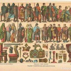 Coleccionismo: LÁMINA TRAJES Y OBJETOS DE LOS CARLOVINGIOS. DICCIONARIO ENCICLOPÉDICO HISPANO-AMERICANO 1888. Lote 128029019