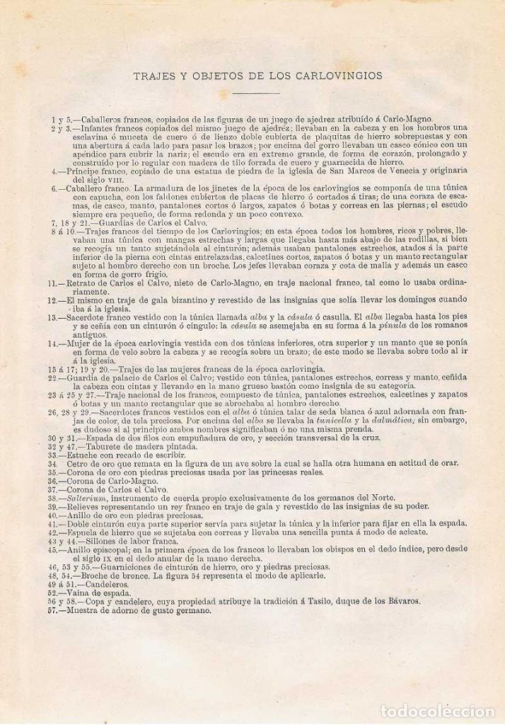 Coleccionismo: Lámina Trajes y objetos de los Carlovingios. Diccionario Enciclopédico Hispano-Americano 1888 - Foto 2 - 128029019