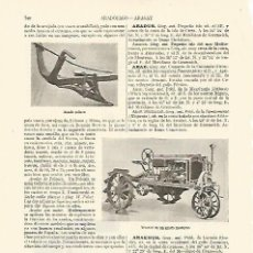 Coleccionismo: LAMINA ESPASA 10878: ARADO POLACO TRACTOR DE ARADO Y ARADO VASCO. Lote 128094415
