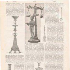 Coleccionismo: LÁMINA CANDELABROS. DICCIONARIO ENCICLOPÉDICO HISPANO-AMERICANO 1888. Lote 128104355