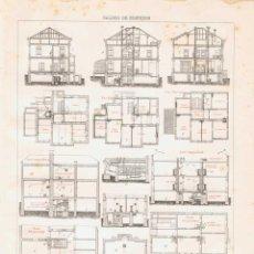 Coleccionismo: LÁMINA CALDEO DE EDIFICIOS. DICCIONARIO ENCICLOPÉDICO HISPANO-AMERICANO 1888. Lote 128106667