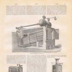 Coleccionismo: LÁMINA CALDERAS. DICCIONARIO ENCICLOPÉDICO HISPANO-AMERICANO 1888. Lote 128107143
