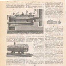 Coleccionismo: LÁMINA CALDERAS. DICCIONARIO ENCICLOPÉDICO HISPANO-AMERICANO 1888. Lote 128107395