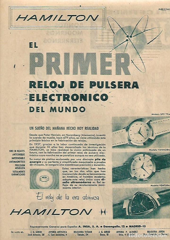 De Recorte Hamilton Del Prensa Año Primer Reloj Electronico 1960 Publicidad Mundo Pulsera 08wOnPkX