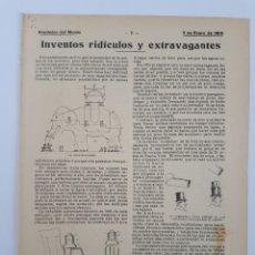 Coleccionismo: INVENTOS RIDÍCULOS Y EXTRAVAGANTES. 1905. Lote 128701744