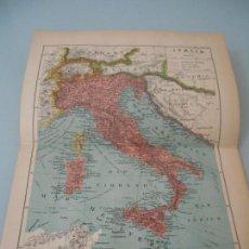 Coleccionismo: MAPA DE ITALIA DOBLE LÁMINA + DE 90 AÑOS DE ANTIGÜEDAD LÁMINA SALVAT 142. Lote 128901355
