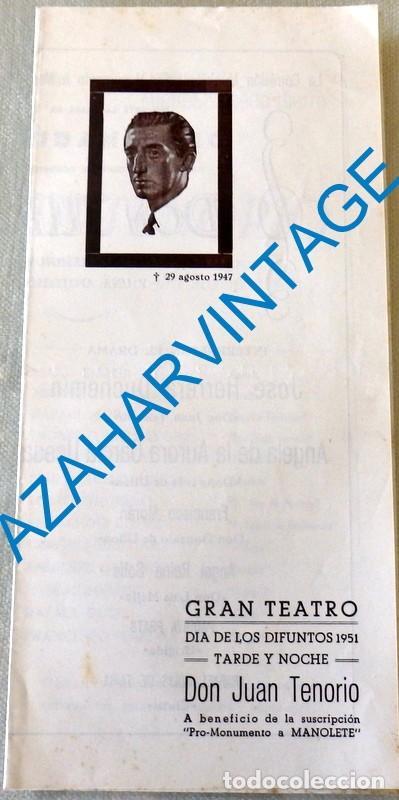 CORDOBA, 1951, GRAN TEATRO , ESPECTACULO PRO MONUMENTO A MANOLETE, DON JUAN TENORIO, MUY RARO (Coleccionismo - Varios)