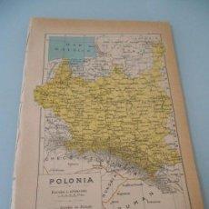 Coleccionismo: MAPA DE POLONIA LÍMITES -FERROCARRILES Y CANALES + DE 90 AÑOS DE ANTIGÜEDAD LÁMINA SALVAT Nº 150. Lote 128956471