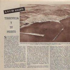 Collectionnisme: AÑO 1960 RECORTE PRENSA TORREVIEJA Y SU PUERTO ALICANTE. Lote 129464699