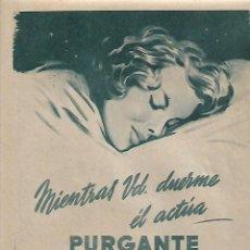 Coleccionismo: AÑO 1957 RECORTE PRENSA PUBLICIDAD PURGANTE YER LAXANTE HIJOS VALERIANO PEREZ PUBLICIDAD. Lote 130300338
