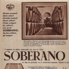 Coleccionismo: AÑO 1957 RECORTE PRENSA PUBLICIDAD BEBIDAS COÑAC SOBERANO BODEGAS GONZALEZ BYASS. Lote 130301682