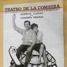 Coleccionismo: PROGRAMA TEATRO DE LA COMEDIA ALBERTO CLOSAS CON CONCHITA VELASCO. EL CUMPLEAÑOS DE LA TORTUGA. Lote 130345910