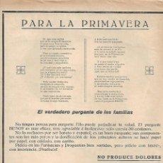 Coleccionismo: AÑO 1925 RECORTE PRENSA PUBLICIDAD LAXANTE PURGANTE BESOY LABORATORIOS BESOY CORDOBA. Lote 130571714