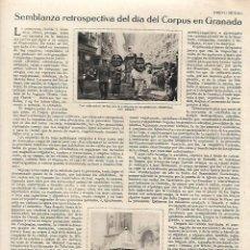 Coleccionismo: AÑO 1930 RECORTE PRENSA EL CORPUS EN GRANADA GIGANTES CABEZUDOS ALTAR PLAZA. Lote 130614402