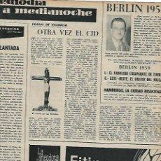 Coleccionismo: AÑO 1959 RECORTE PRENSA EL CID VALENCIA CRISTO DE LAS BATALLAS ESPADA DEL CID TIZONA. Lote 131068960