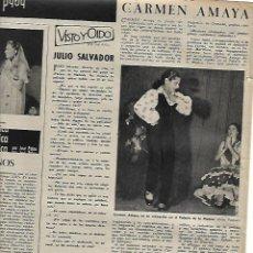 Coleccionismo: AÑO 1959 RECORTE PRENSA REAPARICION DE CARMEN AMAYA BAILE FLAMENCO PALAU DE LA MUSICA DANZA. Lote 131101872
