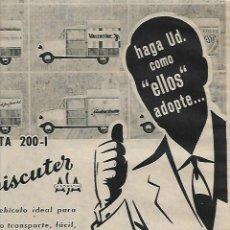 Coleccionismo: AÑO 1959 RECORTE PRENSA PUBLICIDAD UTILAUTO BISCUTER FURGONETA 200-1 AUTOMOBIL TRANSPORTE. Lote 131307139