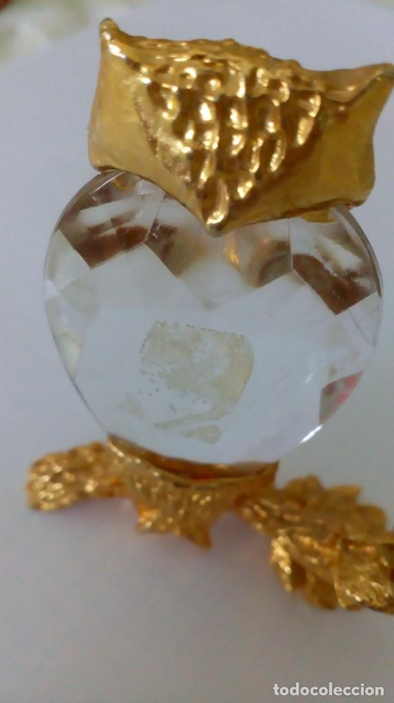 Coleccionismo: Búho de cristal y metal dorado para vitrina - Foto 2 - 131560298