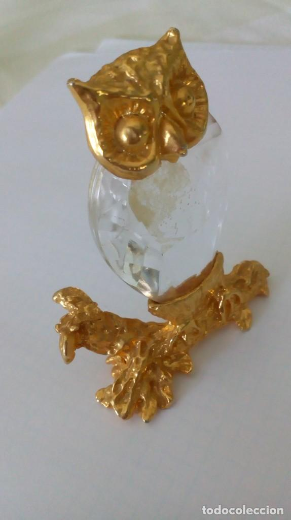 Coleccionismo: Búho de cristal y metal dorado para vitrina - Foto 6 - 131560298