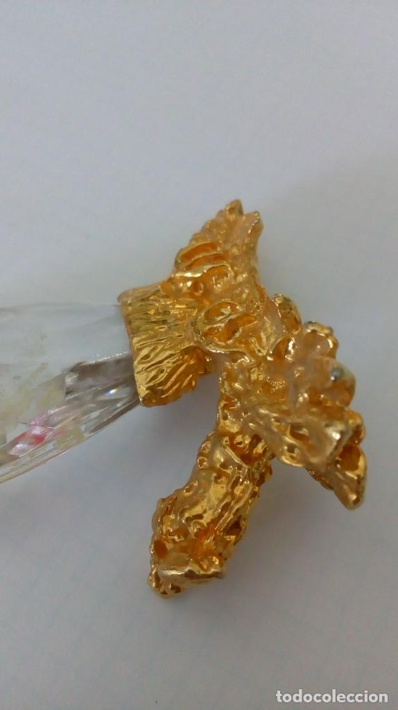 Coleccionismo: Búho de cristal y metal dorado para vitrina - Foto 7 - 131560298