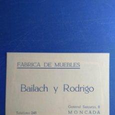 Coleccionismo: TARJETA COMERCIAL - FÁBRICA DE MUEBLES BAILACH Y RODRIGO - MONCADA - VALENCIA. Lote 131632698