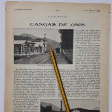 Coleccionismo: CANGAS DE ONÍS. LA CUNA DE ESPAÑA. 1912. Lote 131749643