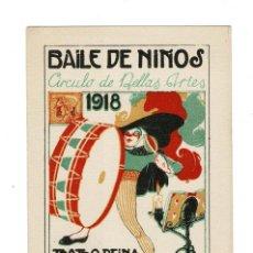 Coleccionismo: BAILE DE NIÑOS. 1918.- TEATRO REINA VICTORIA INVITACIÓN DE NIÑO. CIRCULO DE BELLAS ARTES. Lote 131868106