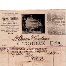 Coleccionismo: HABANA. POMPAS FUNEBRES A TORRES. FACTURA. 1914.. Lote 132073598