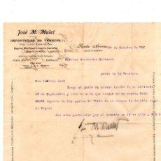 Coleccionismo: CARTA COMERCIAL DE IMPORTACION DE TABACOS. JOSE M. MULET. PUNTA ARENAS, CHILE. 1916.. Lote 132077958