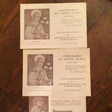 Coleccionismo: ANTIGUO 3 PROGRAMA CENTENARIO DE SANTA CLARA 1253-1953 ARENYS DE MAR Y PEREGRINACIÓN FRANCISCANA. Lote 132165366