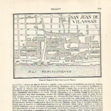 Coleccionismo: LAMINA ESPASA 29025: PLANO DE SANT JOAN DE VILASSAR O VILASSAR DE MAR BARCELONA. Lote 132543187