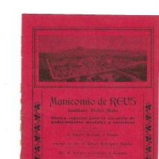 Coleccionismo: AÑO 1905 PUBLICIDAD MANICOMIO REUS INSTITUTO PEDRO MATA JOAQUIN SALES HOMEDES TORTOSA BOMBAS RIEGO. Lote 132677874