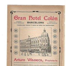 Coleccionismo: AÑO 1905 PUBLICIDAD JOSE RIBAS MUEBLES DECORACION BARCELONA GRAN HOTEL COLON ARTURO VILASECA . Lote 132685430