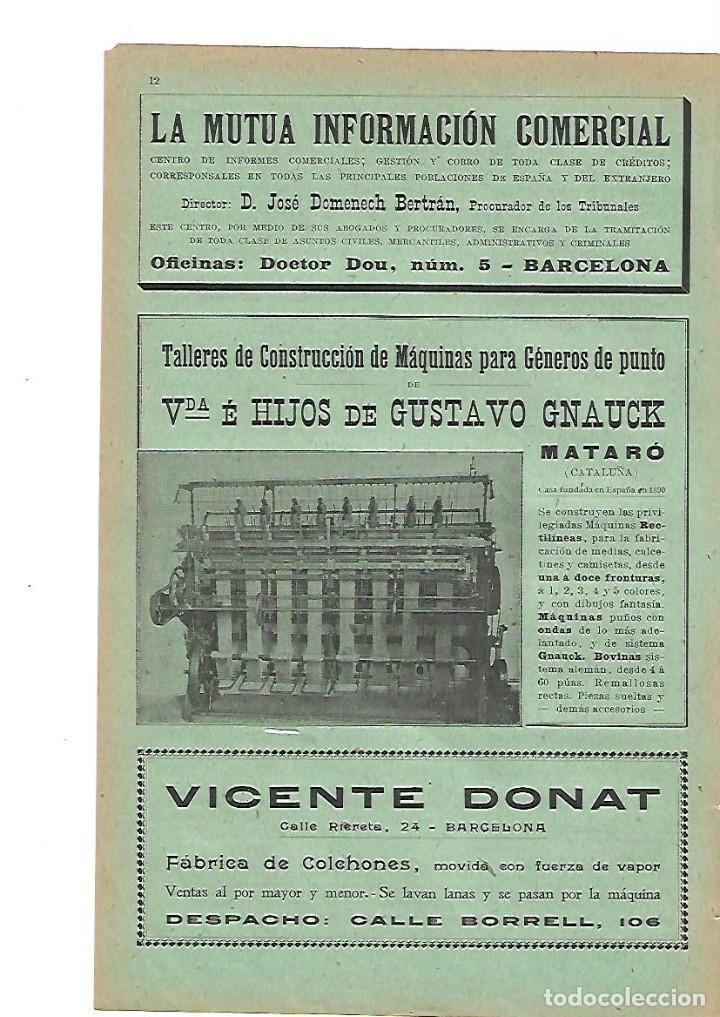 Colchones Mataro.Ano 1905 Publicidad Gustavo Gnauck Mataro Maquina Generos De Punto Vicente Donat Fabrica Colchones