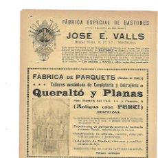 Coleccionismo: AÑO 1905 PUBLICIDAD FABRICA BASTONES JOSE VALLS PARQUET QUERALTO PLANAS ANTIGUA CASA PURTI. Lote 132757450