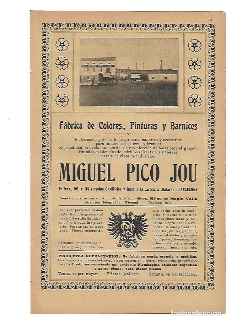 AÑO 1905 PUBLICIDAD MIGUEL PICO JOU FABRICA DE COLORES PINTURAS Y BARNICES BARCELONA (Coleccionismo - Laminas, Programas y Otros Documentos)