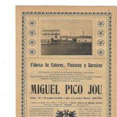 Coleccionismo: AÑO 1905 PUBLICIDAD MIGUEL PICO JOU FABRICA DE COLORES PINTURAS Y BARNICES BARCELONA. Lote 132846878