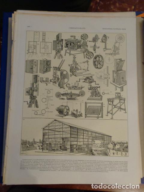 CINEMATÓGRAFO - LÁMINAS I Y II - 2 CARAS - ENCICLOPEDIA ILUSTRADA SEGUÍ 1905 - 1910 (Coleccionismo - Laminas, Programas y Otros Documentos)