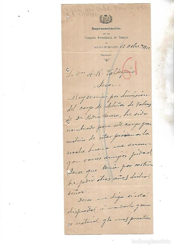COMPAÑIA ARRENDATARIA DE TABACOS. ALCALA DE HENARES. 1902. SOLICITUD DE VINOS A BODEGAS (Coleccionismo - Objetos para Fumar - Otros)