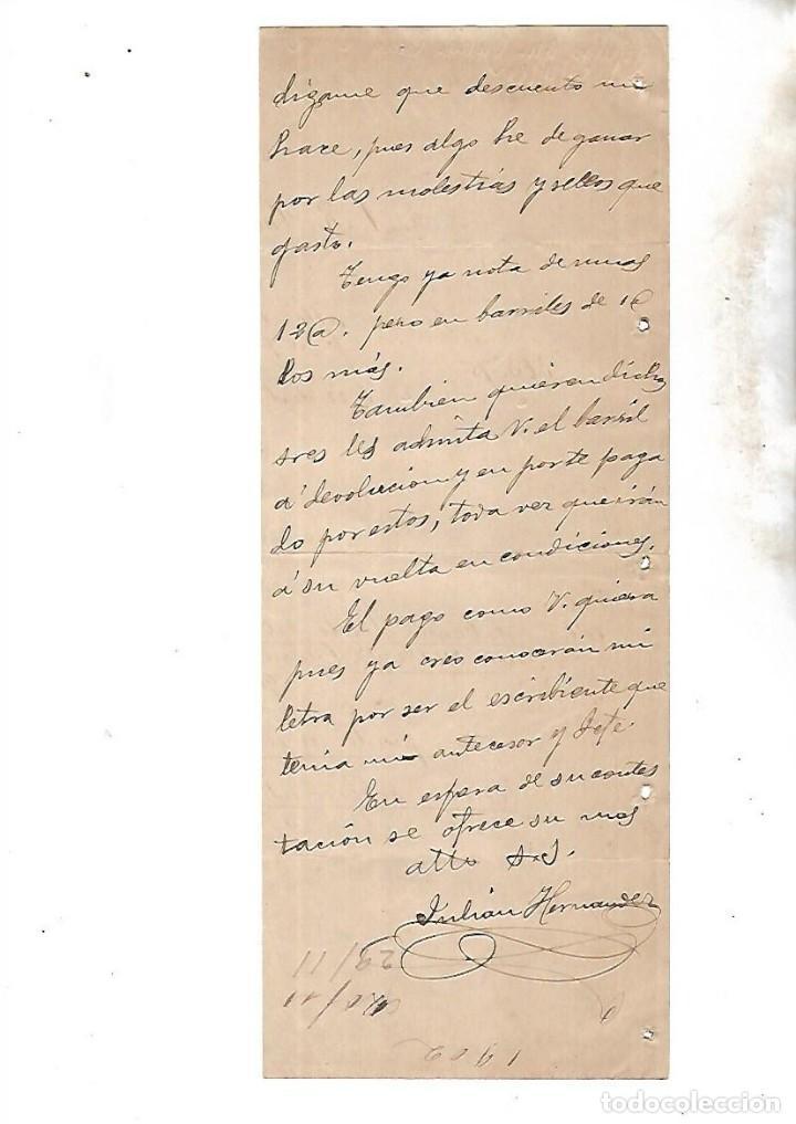 Coleccionismo: COMPAÑIA ARRENDATARIA DE TABACOS. ALCALA DE HENARES. 1902. SOLICITUD DE VINOS A BODEGAS - Foto 2 - 133210294