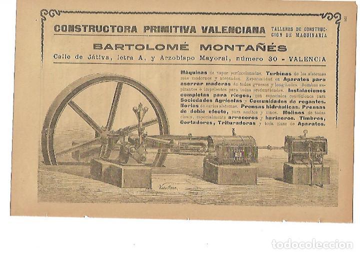 AÑO 1905 PUBLICIDAD BARTOLOME MONTAÑES VALENCIA CONSTRUCTORA PRIMITIVA VALENCIANA (Coleccionismo - Laminas, Programas y Otros Documentos)