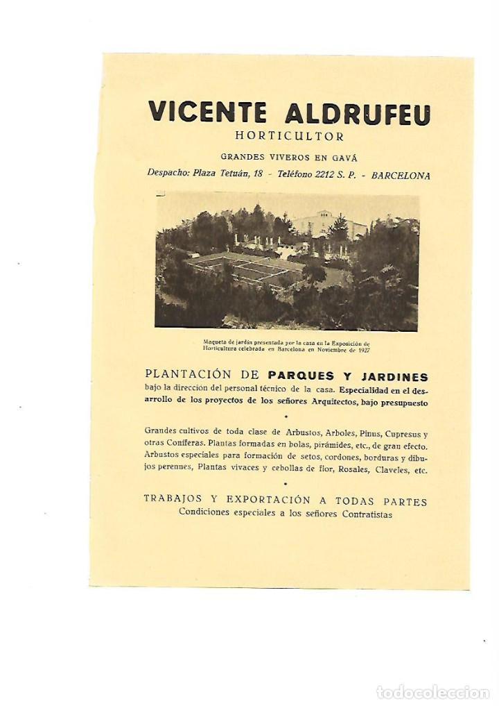 AÑO 1928 PUBLICIDAD VICENTE ALDRUFEU HORTICULTOR VIVEROS GAVA PLANTACION PARQUES Y JARDINES (Coleccionismo - Laminas, Programas y Otros Documentos)