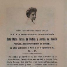 Coleccionismo: MARIA TERESA DE BORBON Y AUSTRIA DE BAVIERA. RECORDATORIO ORIGINAL DE SU DEFUNCIÓN, 23/IX/1912.. Lote 133425062