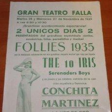 Coleccionismo: PROGRAMA DEL GRAN TEATRO FALLA DE CÁDIZ, FOLLIES 1935, CON CONCHITA MARTÍNEZ Y DORITA LÓPEZ. Lote 133571490