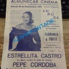 Coleccionismo: ALMUÑECAR, 1964, PROGRAMA ESPECTACULO ESTRELLITA CASTRO, FLAMENCO Y TWIST, RARO. Lote 133572938